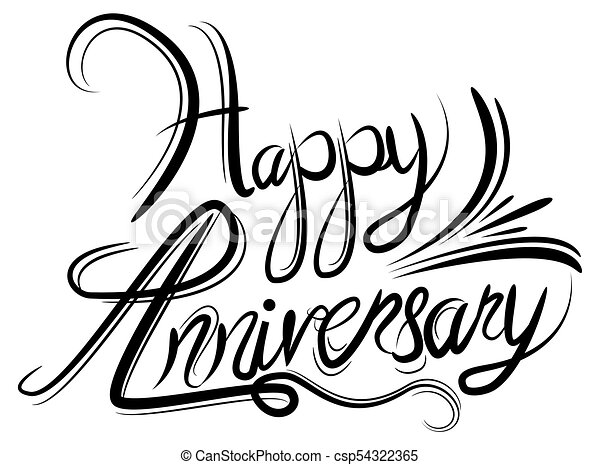 an image of a happy anniversary elegant black white clip art rh canstockphoto com happy anniversary clip art pictures happy anniversary clip art images