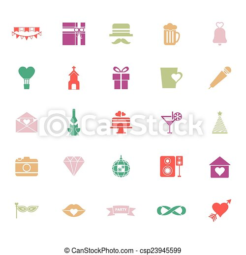 Happy anniversary flat color icons on white background - csp23945599