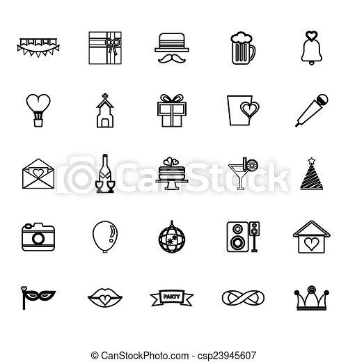 Happy anniversary line icons on white background - csp23945607