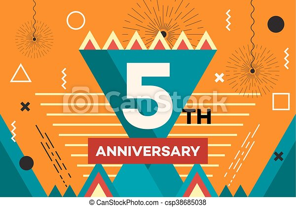 Happy anniversary placard hipster abstract vector vectors