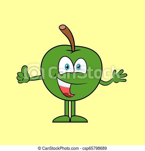 Happy apple with thumb up - csp65798689