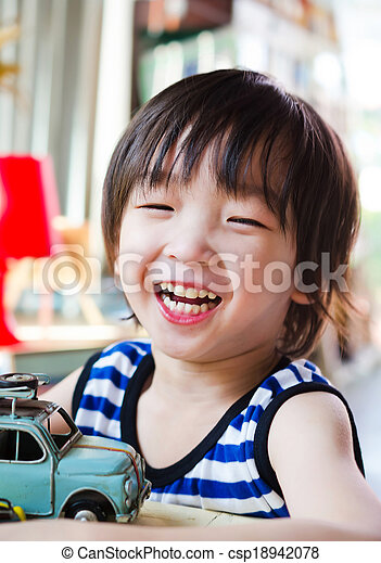 Happy asian boy - csp18942078