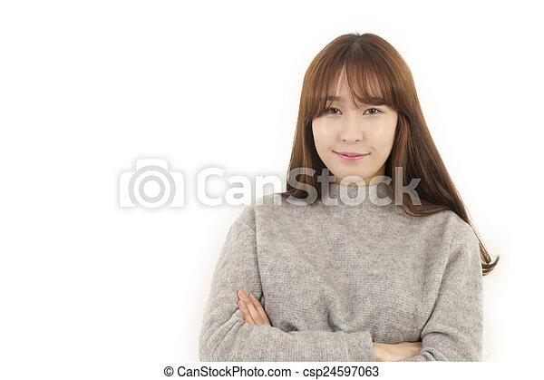 Happy asian female student - csp24597063