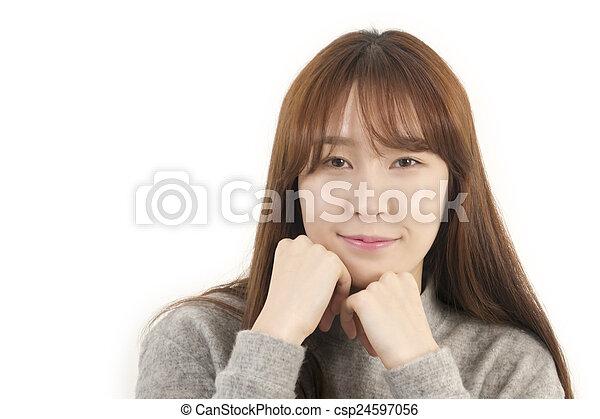 Happy asian female student - csp24597056