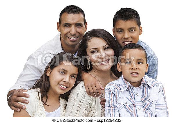 Happy Attractive Hispanic Family Portrait on White - csp12294232