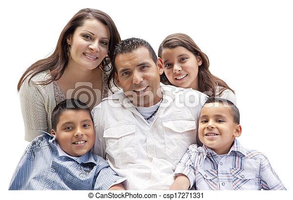 Happy Attractive Hispanic Family Portrait on White - csp17271331