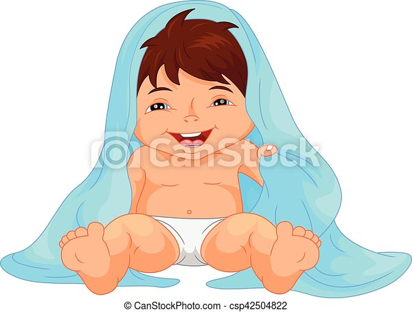 Vector Illustration Of Happy Baby Boy Toddler Wrapped In