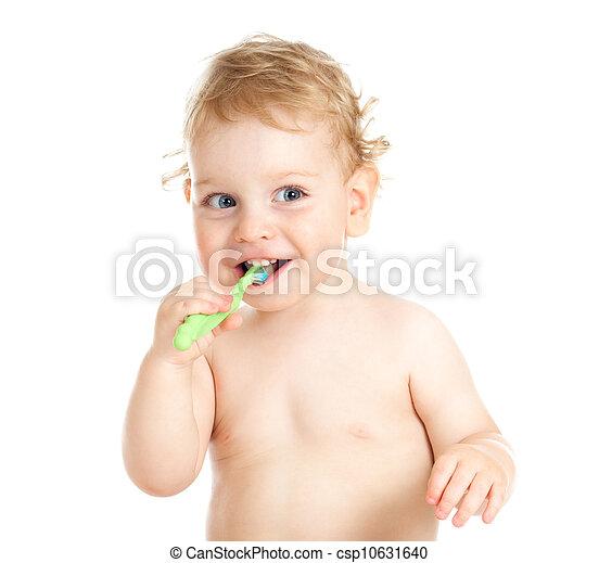 Happy baby child brushing teeth - csp10631640