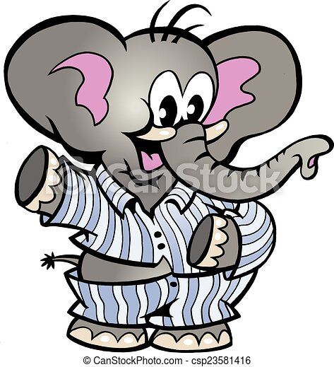 Hand-drawn vector illustration of an happy baby elephant ...