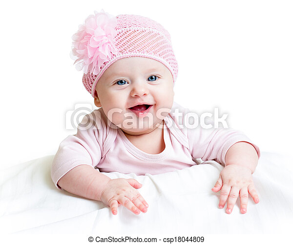 happy baby girl lying on tummy - csp18044809