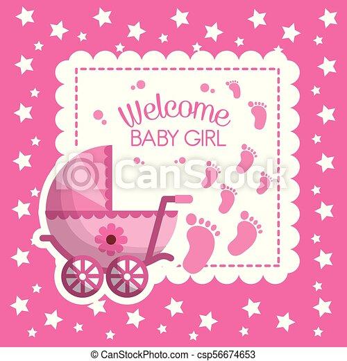 Happy Baby Shower Pink Stars Background Invitation Card Girl Born