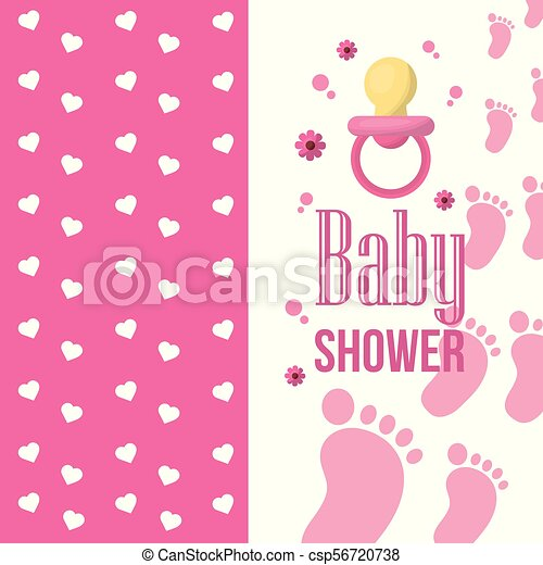 Happy Baby Shower Banners With Hearts Toes Flowers Pink Background