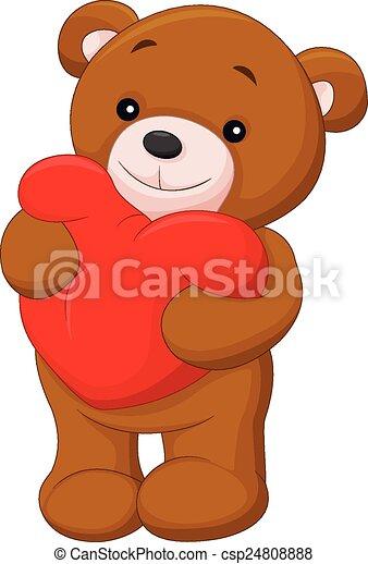 Happy bear cartoon holding red hear - csp24808888