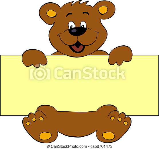 Happy bear with banner - csp8701473