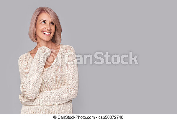 happy beautidul middle aged woman - csp50872748