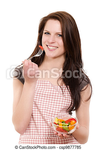 happy beautiful young woman eating salad on white background - csp9877785