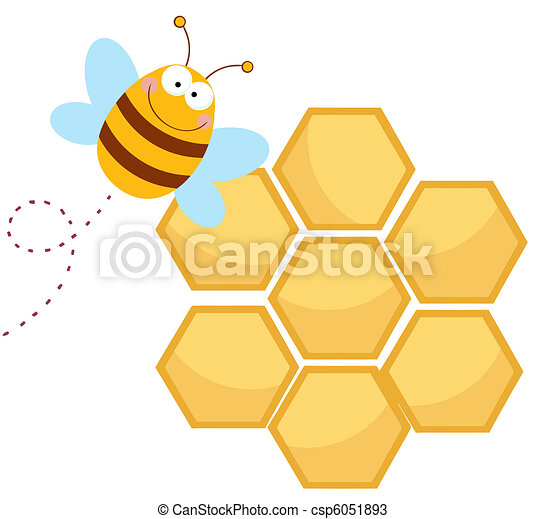 Happy Bee By A Honeycomb - csp6051893