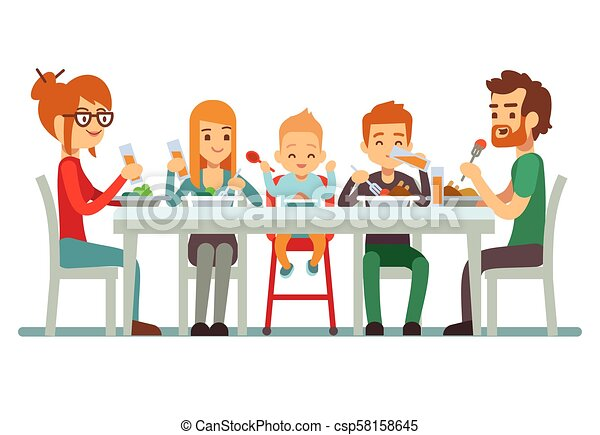 Happy big family eating dinner together vector illustration - csp58158645