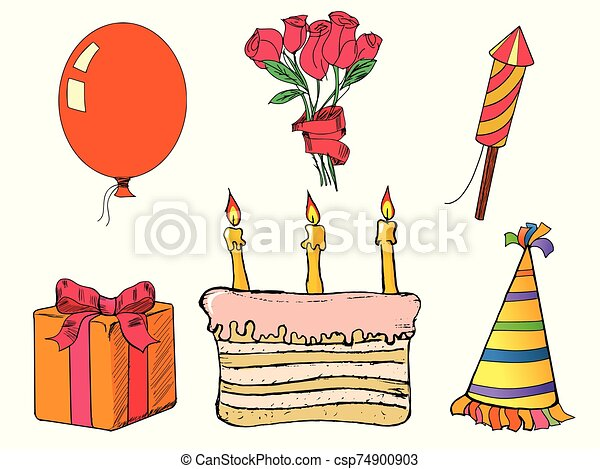 Happy birth day set. Hand drawn, vector images. Present, cake, balloon, flower, hat, fireworks - csp74900903