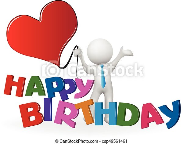 happy birthday 3d white people man with a heart balloon clip art rh canstockphoto com