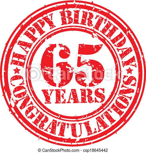 födelsedagsrim 65 år Happy birthday 65 years grunge rubber stamp, vector illustration. födelsedagsrim 65 år