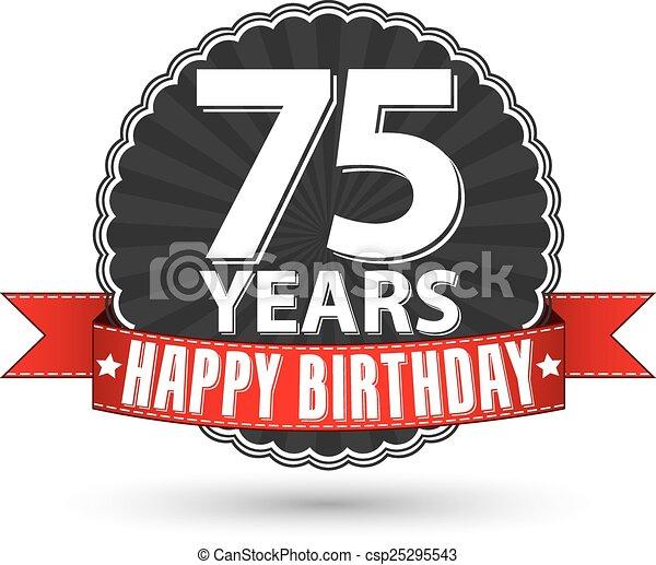 happy birthday 75 years retro label with red ribbon vector