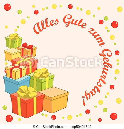 Happy Birthday Alles Gute Zum Geburtstag Vector Background With