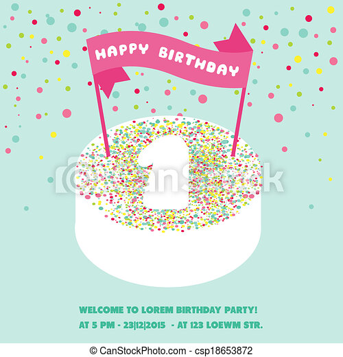 Happy Birthday and Party Invitation Card - with place for your text - in vector - csp18653872