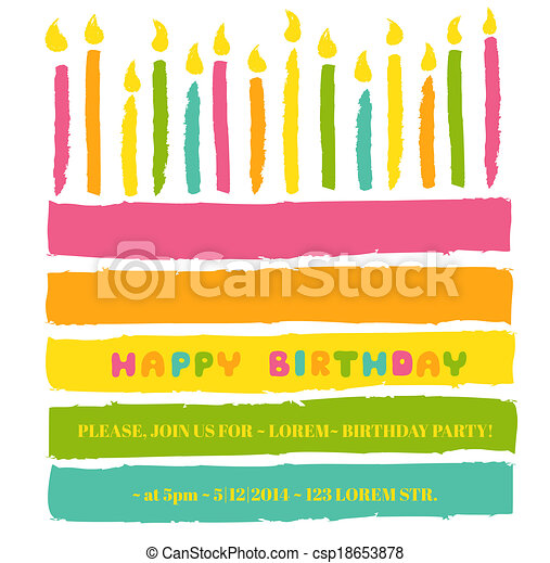 Happy Birthday and Party Invitation Card - with place for your text - in vector - csp18653878