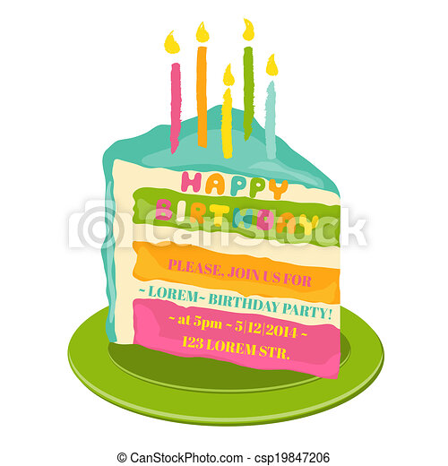 Happy Birthday and Party Invitation Card - with place for your text - in vector - csp19847206