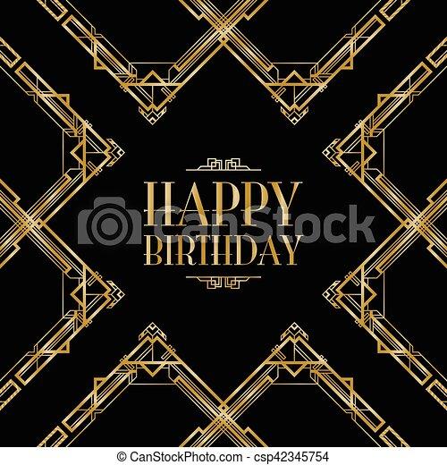 Happy birthday art deco invitation happy birthday art deco invitation csp42345754 stopboris Image collections