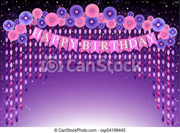 happy birthday background with purple and pink paper flowers and