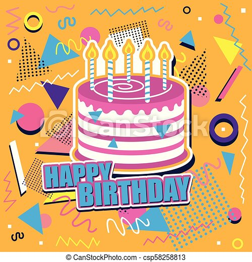 Happy Birthday Background With Cake And Abstract Design Happy