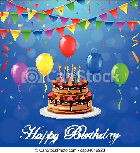 Vector Illustration Of Happy Birthday Background With Cake
