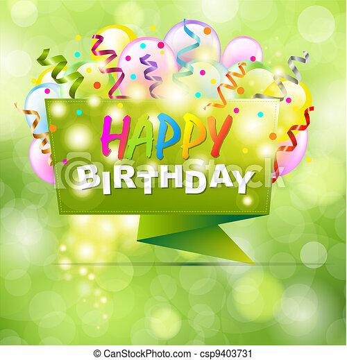 Happy Birthday Background With Origami - csp9403731