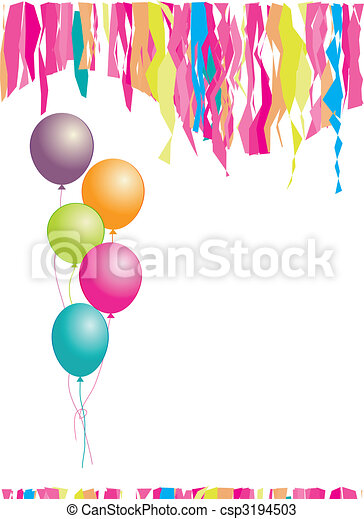Happy birthday! Balloons and confetti. Insert your text here. - csp3194503