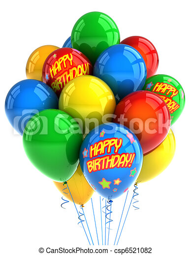 Happy Birthday Balloons Colorful Party Celebrating A