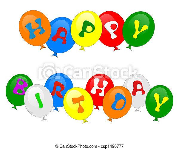 Happy Birthday Balloons Invitation Isolated