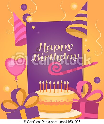 Happy Birthday Banner With Gift Cake Balloon Klaxon Cap Vector Background For Posters Postcards Invitation Card Web Pages Covers Flyers Template