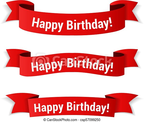Happy Birthday Banners Red Banners With Happy Birthday
