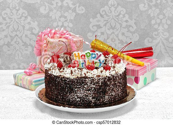 Admirable Happy Birthday Black Forest Chocolate Cake With Ts Festive Personalised Birthday Cards Akebfashionlily Jamesorg