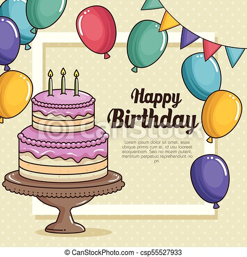 Happy Birthday Cake And Balloons Design