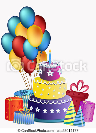 Amazing Happy Birthday Cake Balloons And Presents Happy Birthday Cake Funny Birthday Cards Online Aeocydamsfinfo