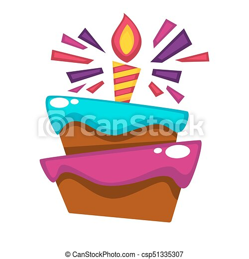 happy birthday cake candle vector design template for greeting card
