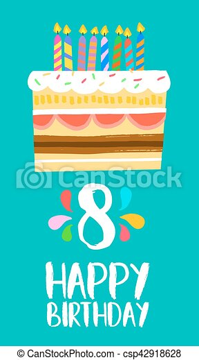 Happy Birthday Cake Card For 8 Eight Year Party