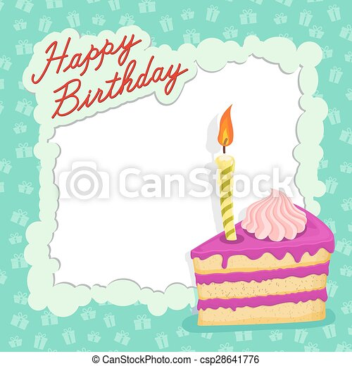 Happy Birthday Cake Card. Vector  Birthday Cake Card Template