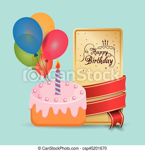Happy Birthday Cake Card Wrapped Ribbon Balloons
