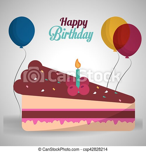 Happy birthday cake cherry candle balloons with shadow vector