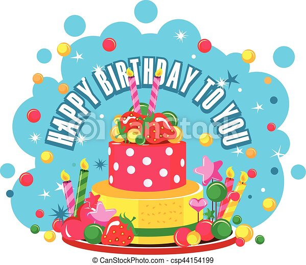 Happy birthday cake Vector illustration of birthday cake eps