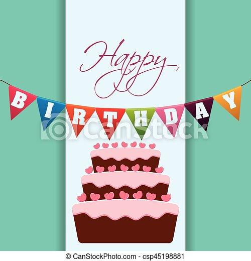 Happy birthday cake garland decoration vector illustration vector